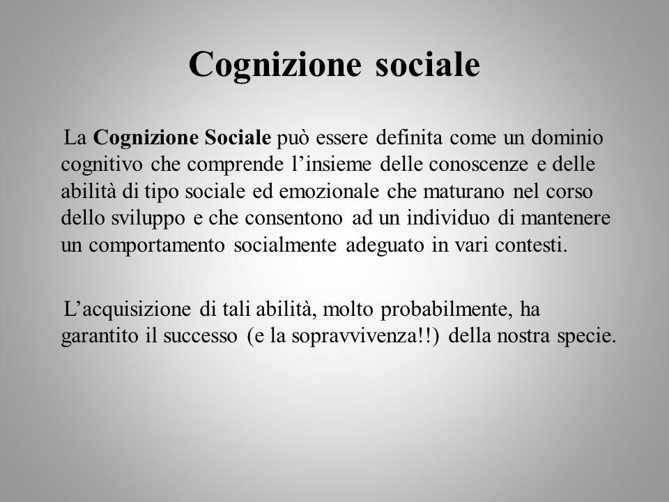 Cognizione sociale La Cognizione Sociale può essere definita come un dominio cognitivo che comprende linsieme delle conoscenze e delle abilità di tipo