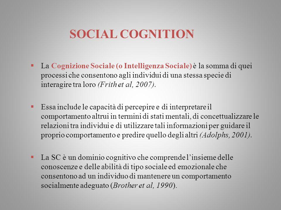 SOCIAL COGNITION La Cognizione Sociale (o Intelligenza Sociale) è la somma di quei processi che consentono agli individui di una stessa specie di inte