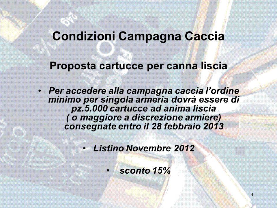 Condizioni Campagna Caccia Proposta cartucce per canna liscia Per accedere alla campagna caccia lordine minimo per singola armeria dovrà essere di pz.