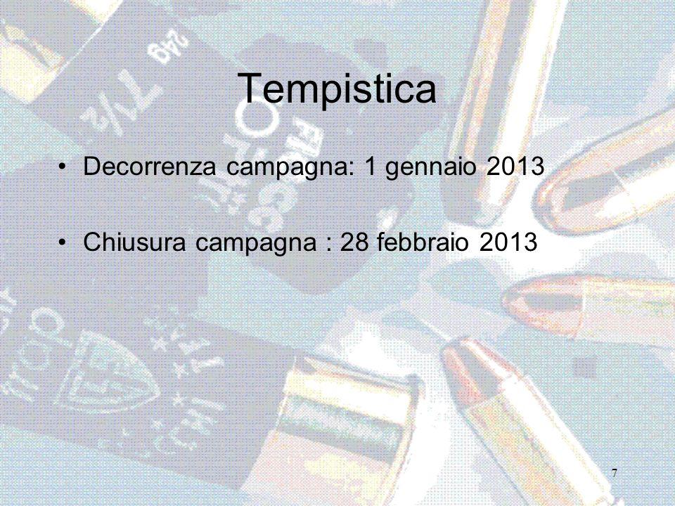 7 Tempistica Decorrenza campagna: 1 gennaio 2013 Chiusura campagna : 28 febbraio 2013