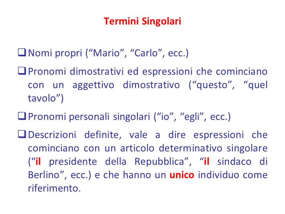 Termini Singolari Nomi propri (Mario, Carlo, ecc.) Pronomi dimostrativi ed espressioni che cominciano con un aggettivo dimostrativo (questo, quel tavo