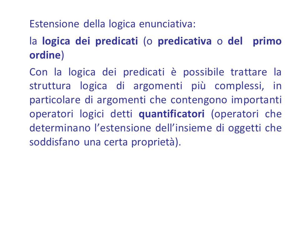 Estensione della logica enunciativa: la logica dei predicati (o predicativa o del primo ordine) Con la logica dei predicati è possibile trattare la st