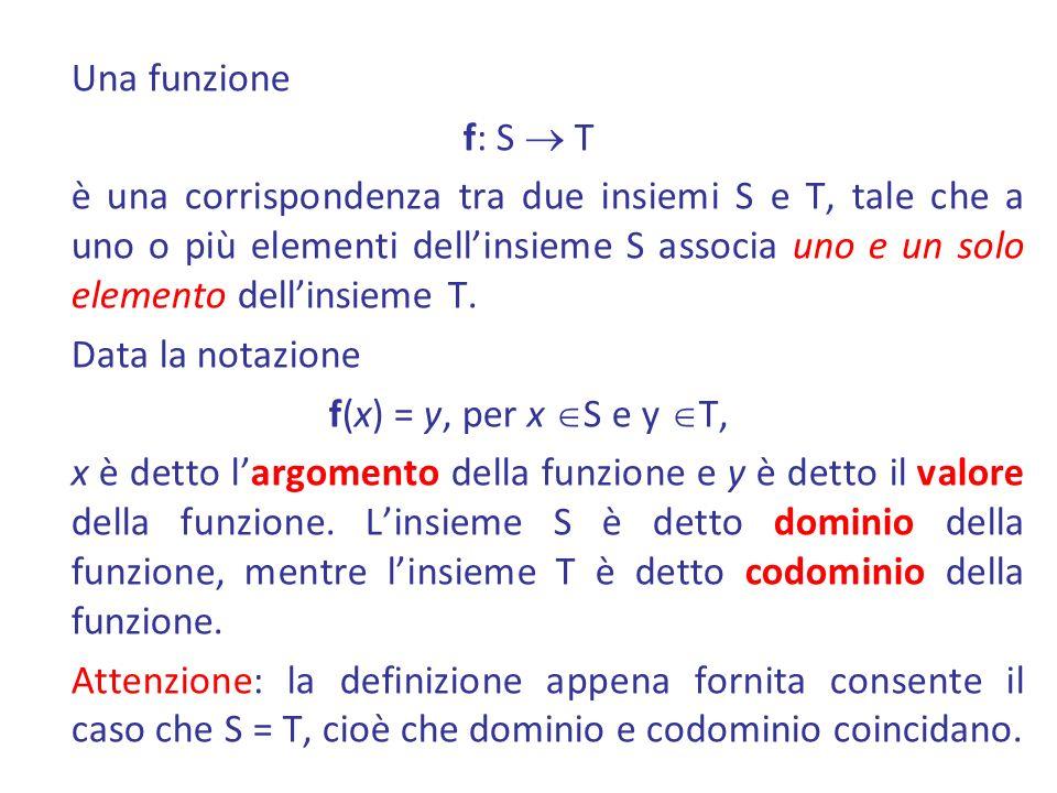 Una funzione f: S T è una corrispondenza tra due insiemi S e T, tale che a uno o più elementi dellinsieme S associa uno e un solo elemento dellinsieme