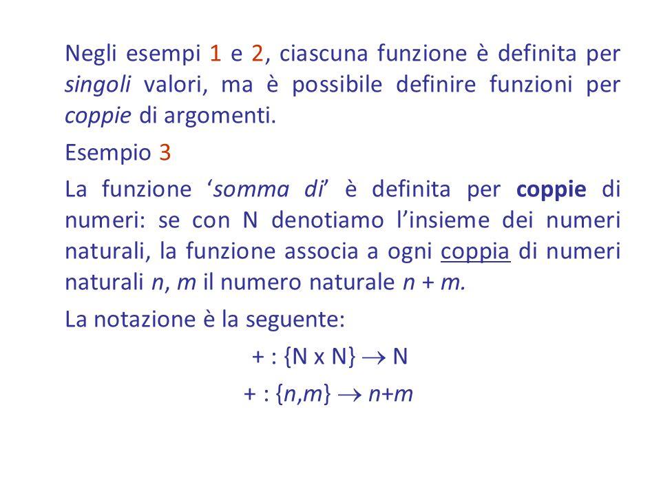 Negli esempi 1 e 2, ciascuna funzione è definita per singoli valori, ma è possibile definire funzioni per coppie di argomenti. Esempio 3 La funzione s