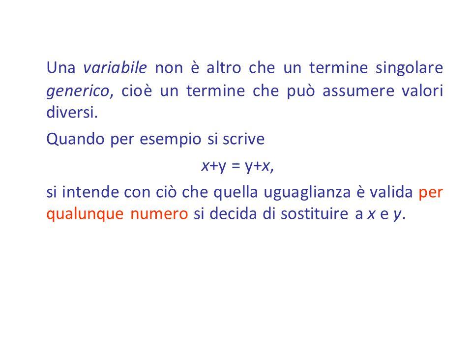 Una variabile non è altro che un termine singolare generico, cioè un termine che può assumere valori diversi. Quando per esempio si scrive x+y = y+x,