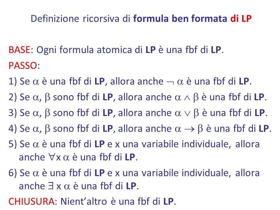 Definizione ricorsiva di formula ben formata di LP BASE: Ogni formula atomica di LP è una fbf di LP. PASSO: 1) Se è una fbf di LP, allora anche è una