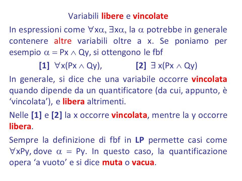 Variabili libere e vincolate In espressioni come x x la potrebbe in generale contenere altre variabili oltre a x. Se poniamo per esempio Px Qy, si ott