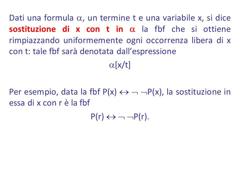 Dati una formula, un termine t e una variabile x, si dice sostituzione di x con t in la fbf che si ottiene rimpiazzando uniformemente ogni occorrenza