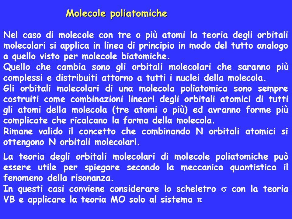 Molecole poliatomiche Nel caso di molecole con tre o più atomi la teoria degli orbitali molecolari si applica in linea di principio in modo del tutto