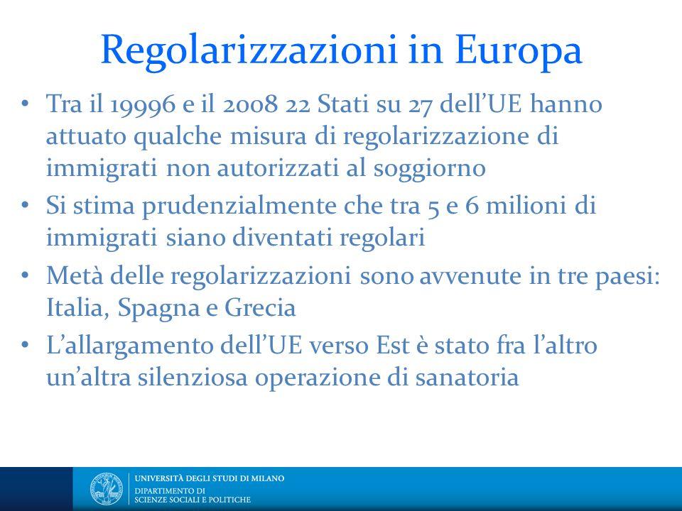 Regolarizzazioni in Europa Tra il 19996 e il 2008 22 Stati su 27 dellUE hanno attuato qualche misura di regolarizzazione di immigrati non autorizzati
