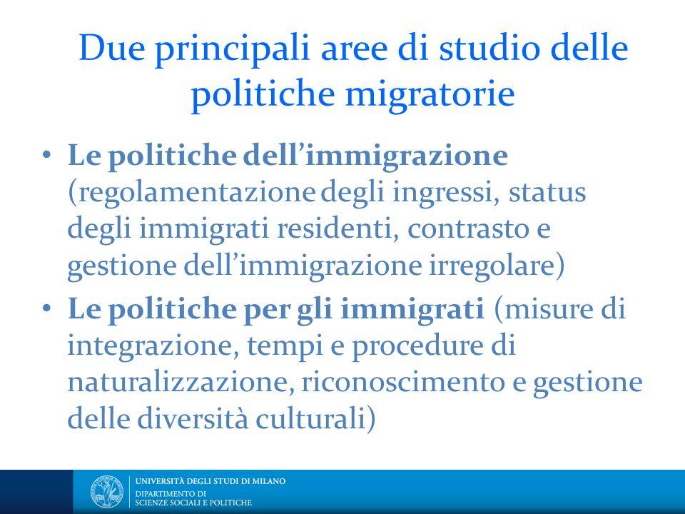 Due principali aree di studio delle politiche migratorie Le politiche dellimmigrazione (regolamentazione degli ingressi, status degli immigrati residenti, contrasto e gestione dellimmigrazione irregolare) Le politiche per gli immigrati (misure di integrazione, tempi e procedure di naturalizzazione, riconoscimento e gestione delle diversità culturali)