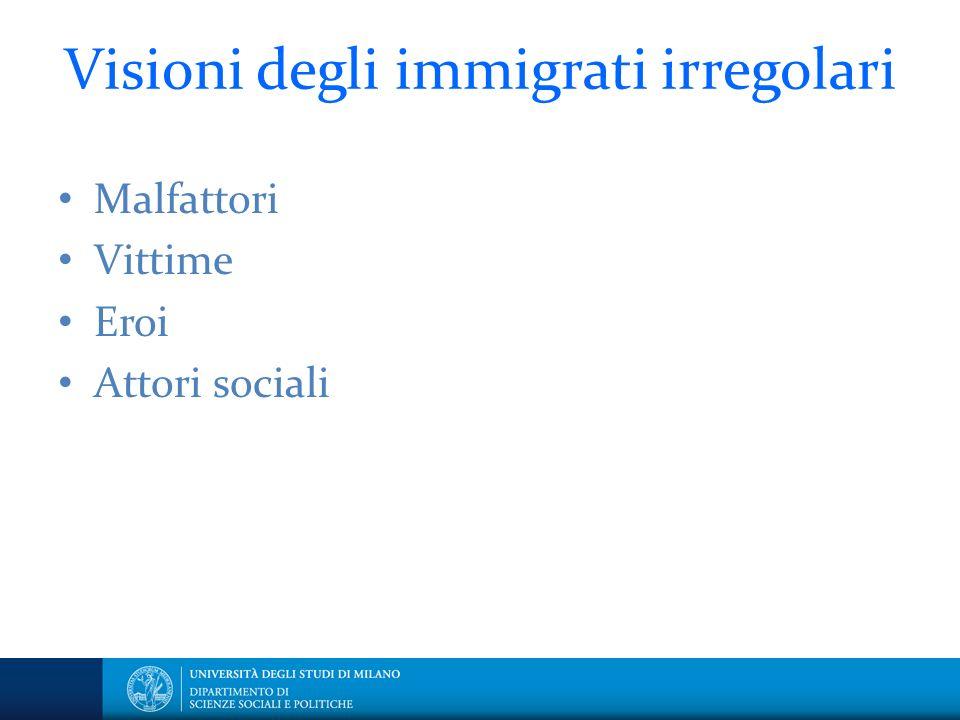 Visioni degli immigrati irregolari Malfattori Vittime Eroi Attori sociali