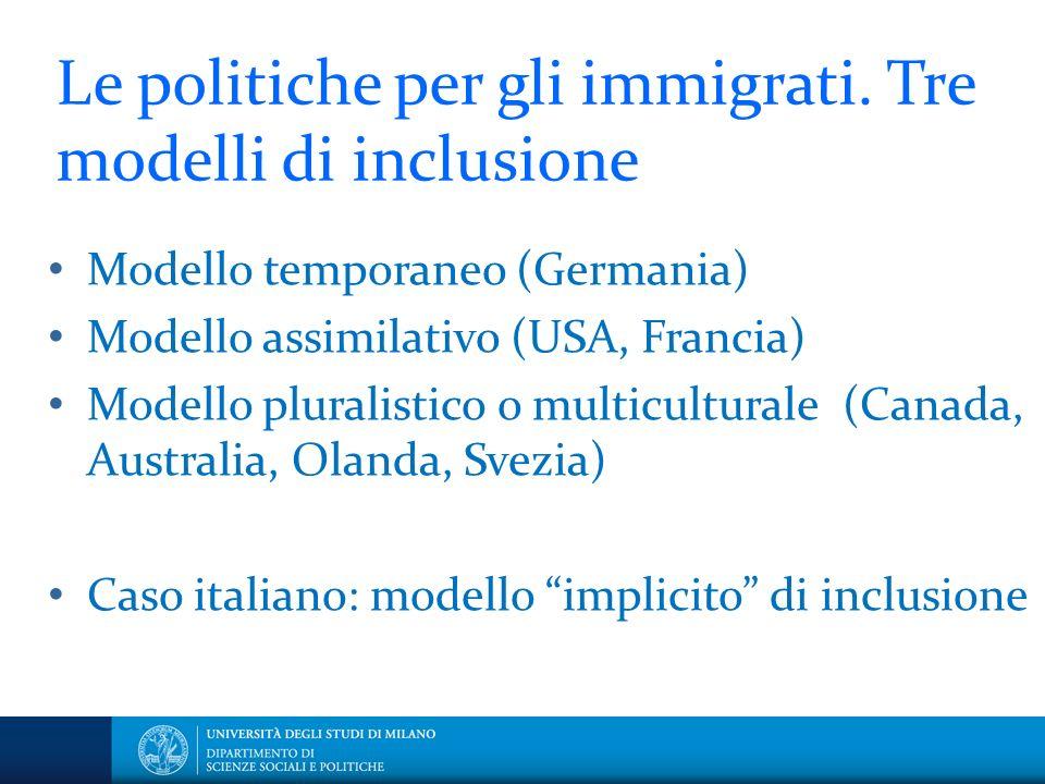 Le politiche per gli immigrati. Tre modelli di inclusione Modello temporaneo (Germania) Modello assimilativo (USA, Francia) Modello pluralistico o mul