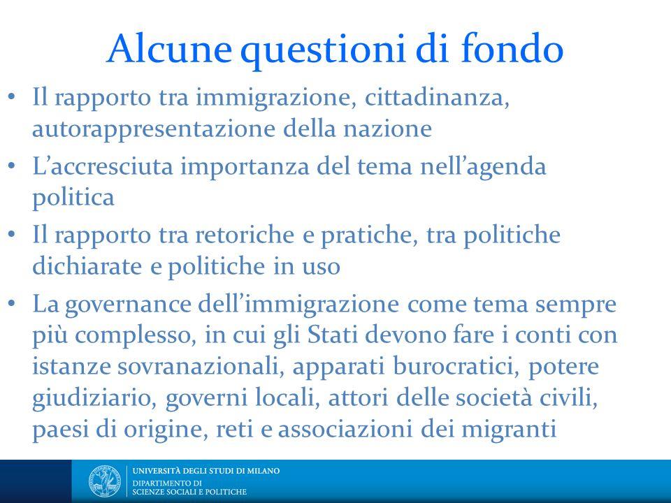 Alcune questioni di fondo Il rapporto tra immigrazione, cittadinanza, autorappresentazione della nazione Laccresciuta importanza del tema nellagenda p
