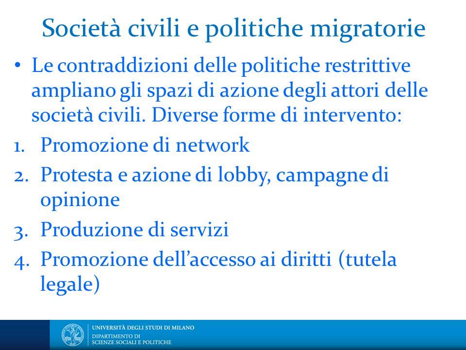 Società civili e politiche migratorie Le contraddizioni delle politiche restrittive ampliano gli spazi di azione degli attori delle società civili.