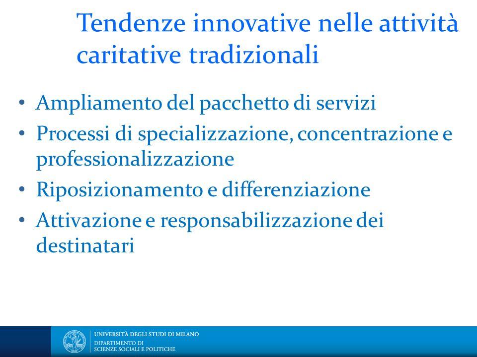 Tendenze innovative nelle attività caritative tradizionali Ampliamento del pacchetto di servizi Processi di specializzazione, concentrazione e profess