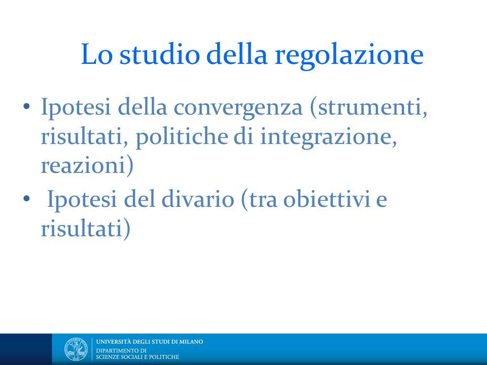 Lo studio della regolazione Ipotesi della convergenza (strumenti, risultati, politiche di integrazione, reazioni) Ipotesi del divario (tra obiettivi e