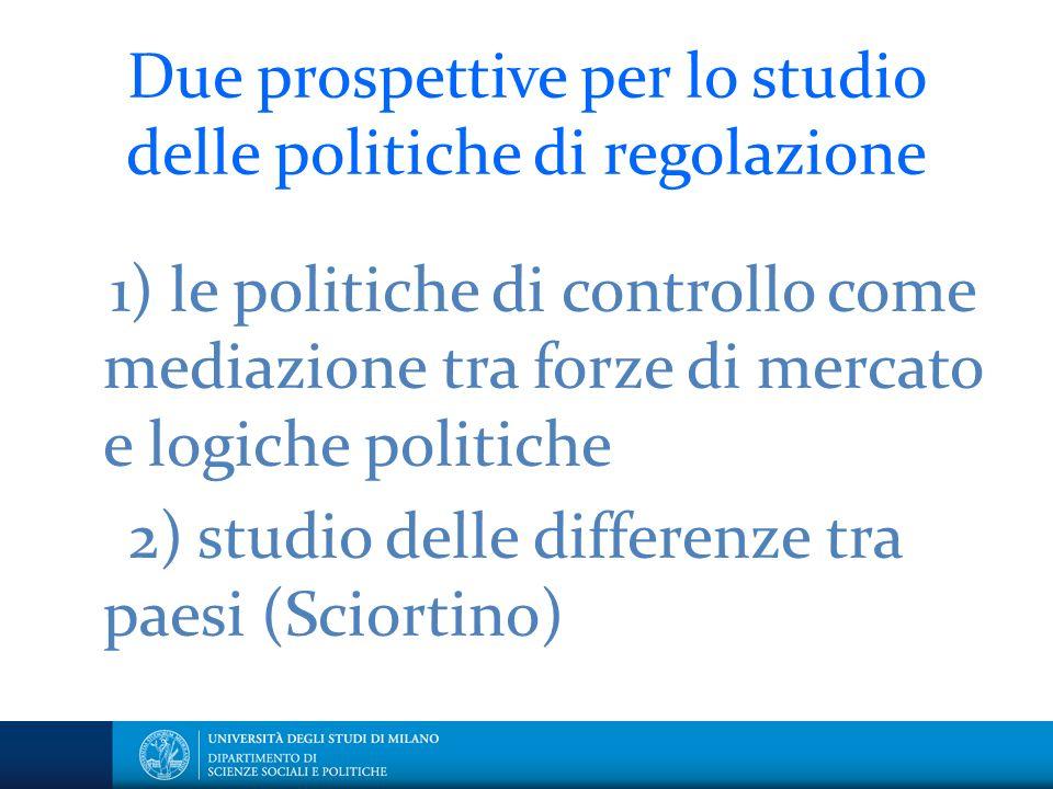 Due prospettive per lo studio delle politiche di regolazione 1) le politiche di controllo come mediazione tra forze di mercato e logiche politiche 2) studio delle differenze tra paesi (Sciortino)