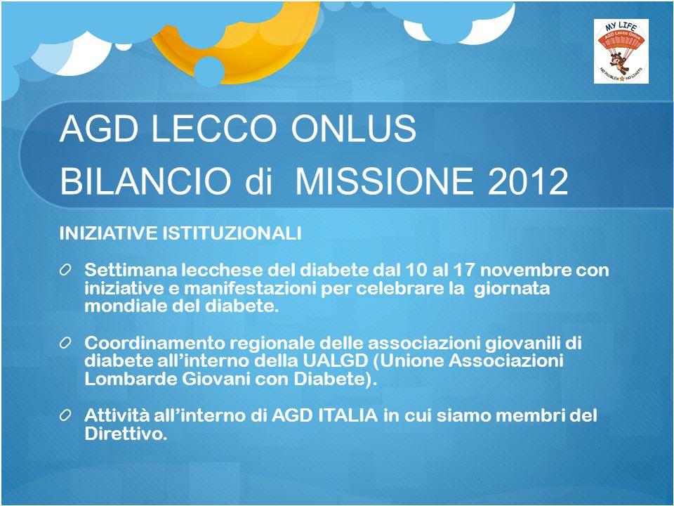 AGD LECCO ONLUS BILANCIO di MISSIONE 2012 INIZIATIVE ISTITUZIONALI Settimana lecchese del diabete dal 10 al 17 novembre con iniziative e manifestazioni per celebrare la giornata mondiale del diabete.