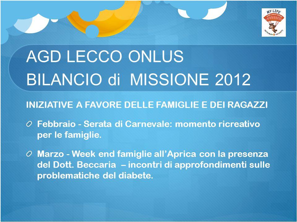 AGD LECCO ONLUS BILANCIO di MISSIONE 2012 INIZIATIVE A FAVORE DELLE FAMIGLIE E DEI RAGAZZI Febbraio - Serata di Carnevale: momento ricreativo per le famiglie.