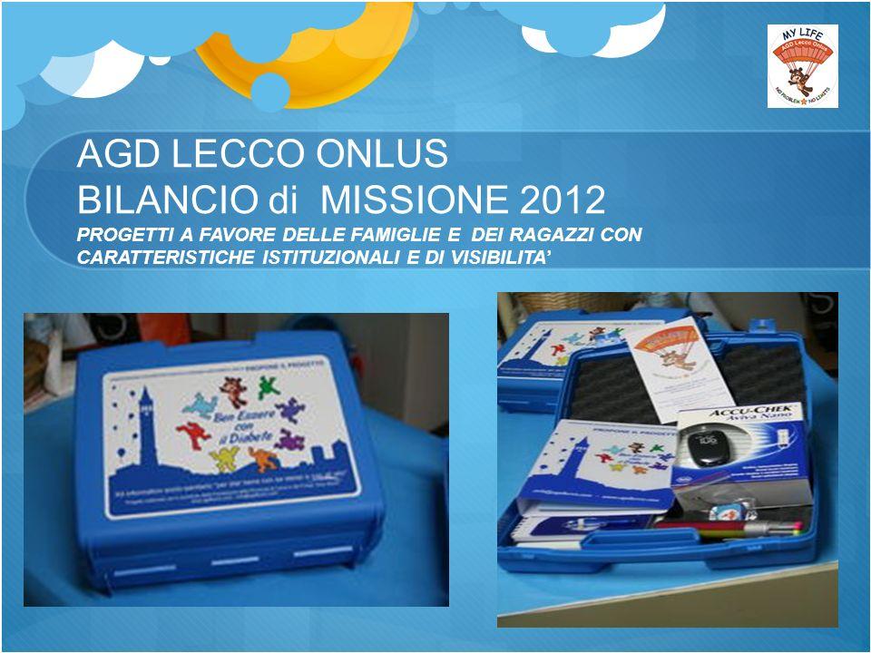 AGD LECCO ONLUS BILANCIO di MISSIONE 2012 PROGETTI A FAVORE DELLE FAMIGLIE E DEI RAGAZZI CON CARATTERISTICHE ISTITUZIONALI E DI VISIBILITA