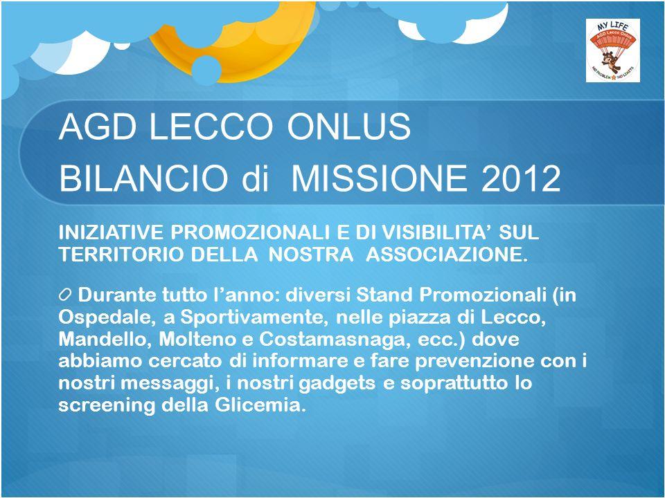 AGD LECCO ONLUS BILANCIO di MISSIONE 2012 INIZIATIVE PROMOZIONALI E DI VISIBILITA SUL TERRITORIO DELLA NOSTRA ASSOCIAZIONE.