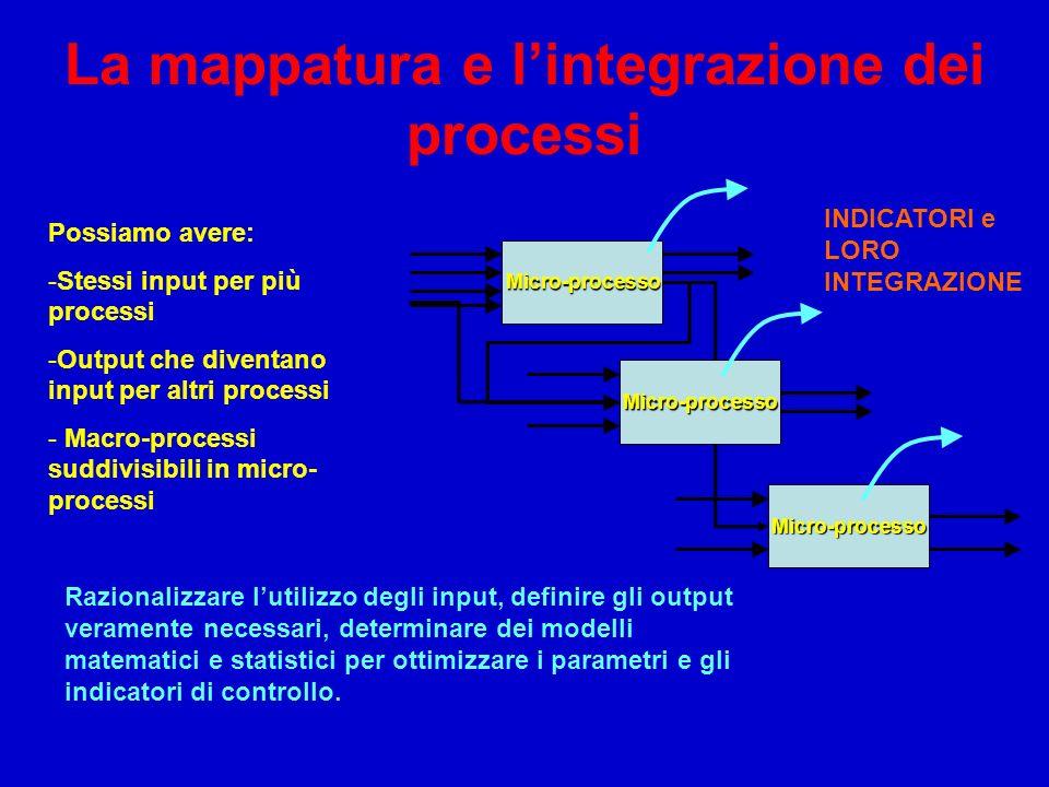 La mappatura e lintegrazione dei processi Micro-processo Micro-processo Micro-processo Possiamo avere: -Stessi input per più processi -Output che dive