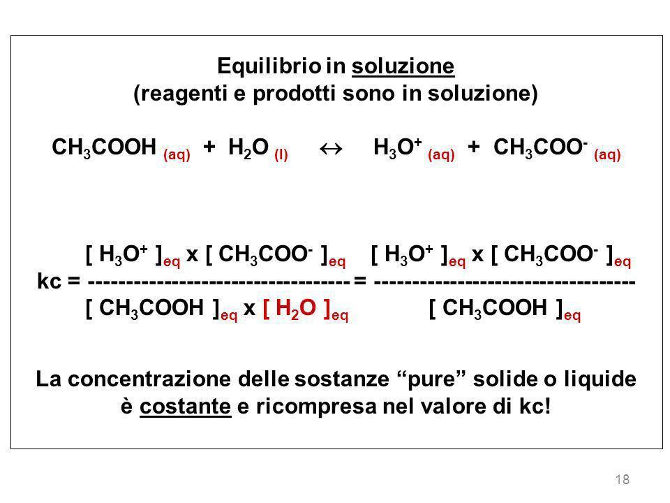 18 Equilibrio in soluzione (reagenti e prodotti sono in soluzione) CH 3 COOH (aq) + H 2 O (l) H 3 O + (aq) + CH 3 COO - (aq) [ H 3 O + ] eq x [ CH 3 C