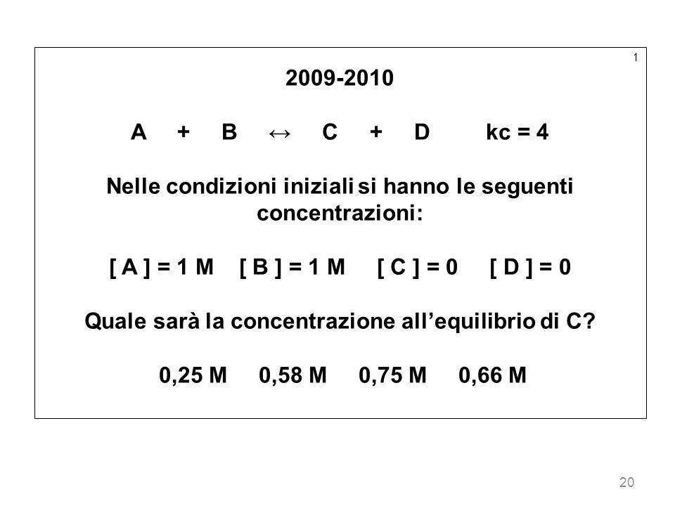 20 1 2009-2010 A + B C + D kc = 4 Nelle condizioni iniziali si hanno le seguenti concentrazioni: [ A ] = 1 M [ B ] = 1 M [ C ] = 0 [ D ] = 0 Quale sar