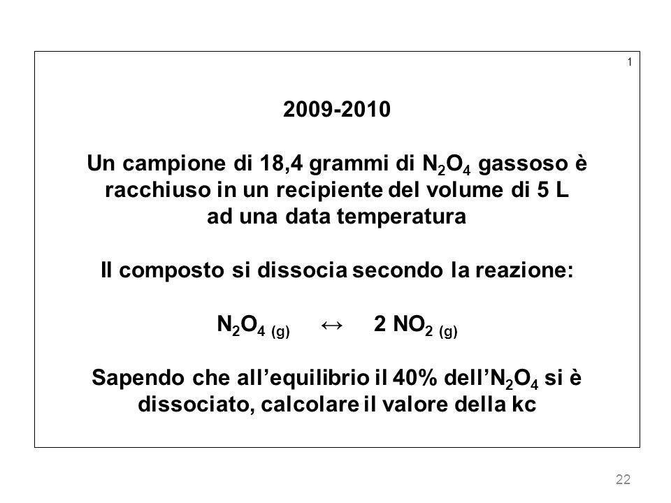 22 1 2009-2010 Un campione di 18,4 grammi di N 2 O 4 gassoso è racchiuso in un recipiente del volume di 5 L ad una data temperatura Il composto si dis