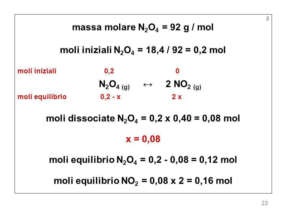 23 2 massa molare N 2 O 4 = 92 g / mol moli iniziali N 2 O 4 = 18,4 / 92 = 0,2 mol moli iniziali 0,2 0 N 2 O 4 (g) 2 NO 2 (g) moli equilibrio 0,2 - x