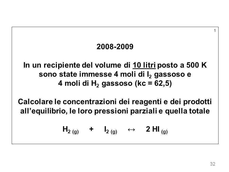 32 1 2008-2009 In un recipiente del volume di 10 litri posto a 500 K sono state immesse 4 moli di I 2 gassoso e 4 moli di H 2 gassoso (kc = 62,5) Calc