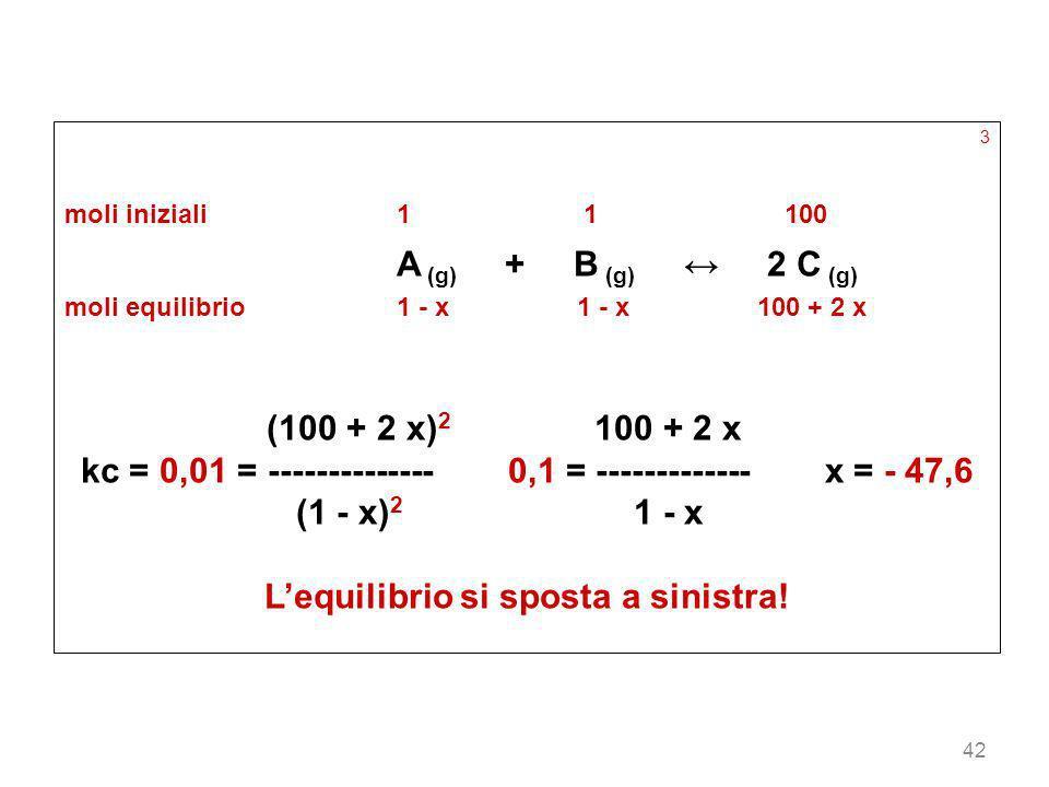 42 3 moli iniziali11 100 A (g) + B (g) 2 C (g) moli equilibrio1 - x 1 - x 100 + 2 x (100 + 2 x) 2 100 + 2 x kc = 0,01 = -------------- 0,1 = ---------
