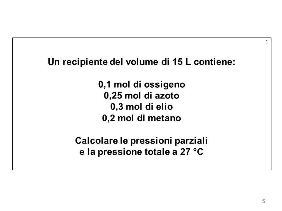 5 1 Un recipiente del volume di 15 L contiene: 0,1 mol di ossigeno 0,25 mol di azoto 0,3 mol di elio 0,2 mol di metano Calcolare le pressioni parziali