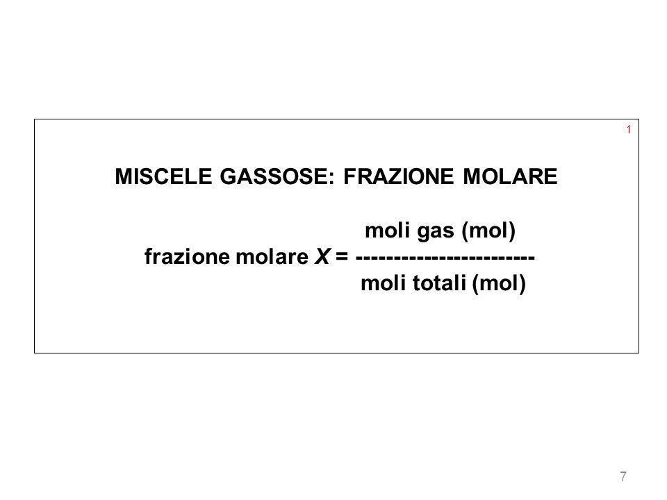 7 1 MISCELE GASSOSE: FRAZIONE MOLARE moli gas (mol) frazione molare X = ------------------------ moli totali (mol)