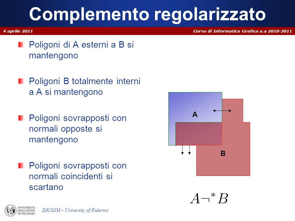 Corso di Informatica Grafica a.a 2010-2011 DICGIM – University of Palermo Complemento regolarizzato Poligoni di A esterni a B si mantengono Poligoni B