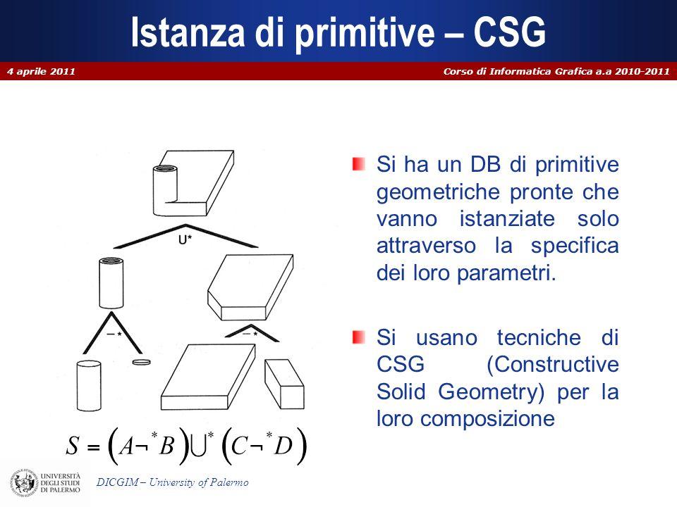 Corso di Informatica Grafica a.a 2010-2011 DICGIM – University of Palermo Istanza di primitive – CSG Si ha un DB di primitive geometriche pronte che v