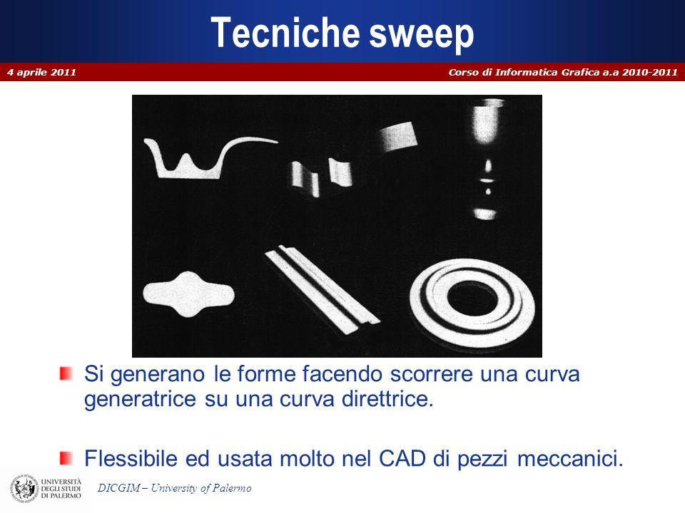 Corso di Informatica Grafica a.a 2010-2011 DICGIM – University of Palermo Tecniche sweep Si generano le forme facendo scorrere una curva generatrice s
