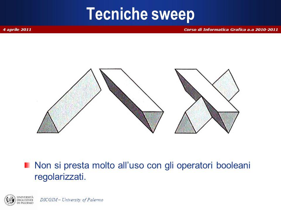 Corso di Informatica Grafica a.a 2010-2011 DICGIM – University of Palermo Tecniche sweep Non si presta molto alluso con gli operatori booleani regolar