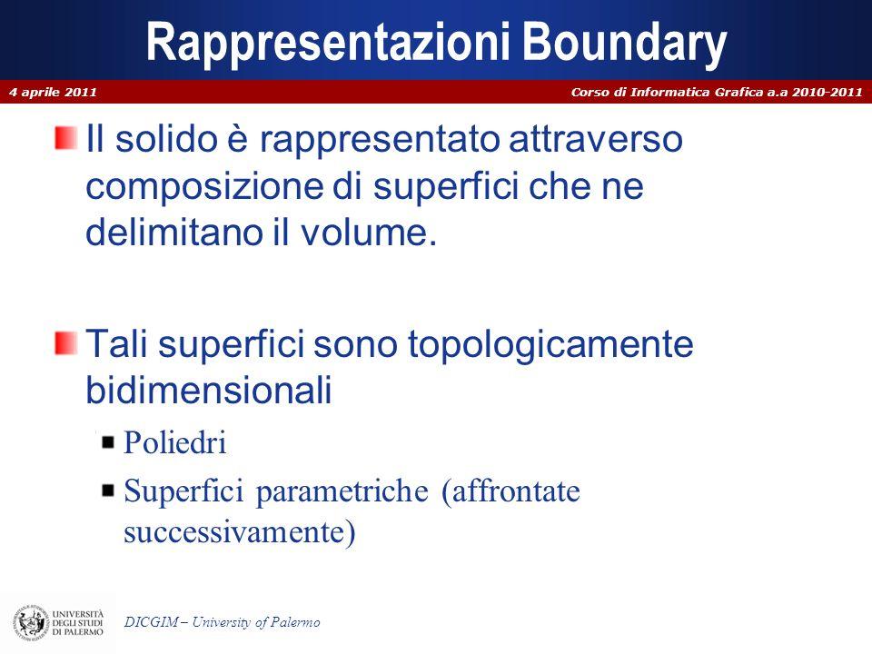 Corso di Informatica Grafica a.a 2010-2011 DICGIM – University of Palermo Rappresentazioni Boundary Il solido è rappresentato attraverso composizione