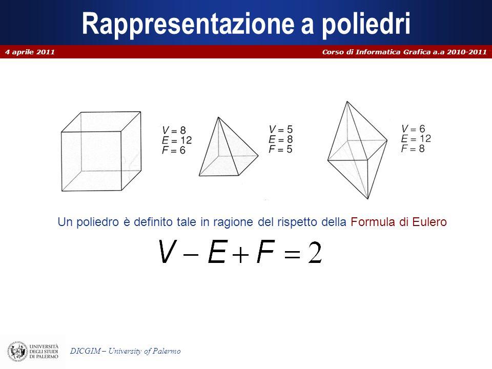 Corso di Informatica Grafica a.a 2010-2011 DICGIM – University of Palermo Rappresentazione a poliedri 4 aprile 2011 Un poliedro è definito tale in rag