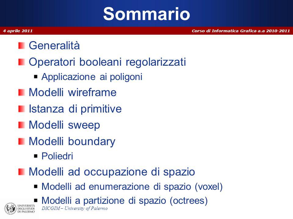Corso di Informatica Grafica a.a 2010-2011 DICGIM – University of Palermo Generalità La modellazione solida è quella parte della Computer Graphics che si occupa di definire modelli per la rappresentazione di oggetti tridimensionali.