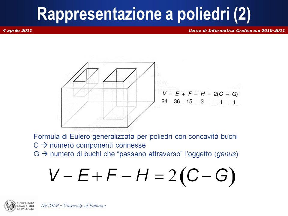 Corso di Informatica Grafica a.a 2010-2011 DICGIM – University of Palermo Rappresentazione a poliedri (2) 4 aprile 2011 Formula di Eulero generalizzat