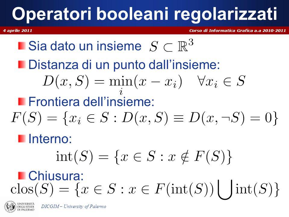 Corso di Informatica Grafica a.a 2010-2011 DICGIM – University of Palermo Operatori booleani regolarizzati Sia dato un insieme Distanza di un punto da