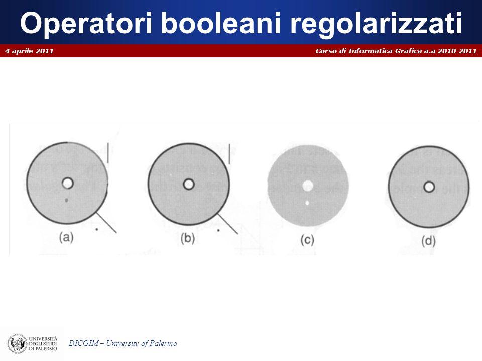 Corso di Informatica Grafica a.a 2010-2011 DICGIM – University of Palermo Intersezione regolarizzata Poligoni di A (B) esterni a B (A) si scartano Poligoni di A (B) totalmente interni a B(A) si mantengono Poligoni sovrapposti con normali opposte si scartano Poligoni sovrapposti con normali coincidenti si mantengono 4 aprile 2011 A B