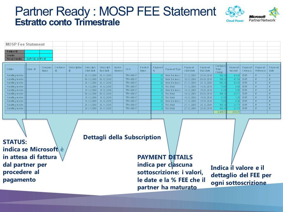 Partner Ready : MOSP FEE Statement Estratto conto Trimestrale STATUS: indica se Microsoft è in attesa di fattura dal partner per procedere al pagament