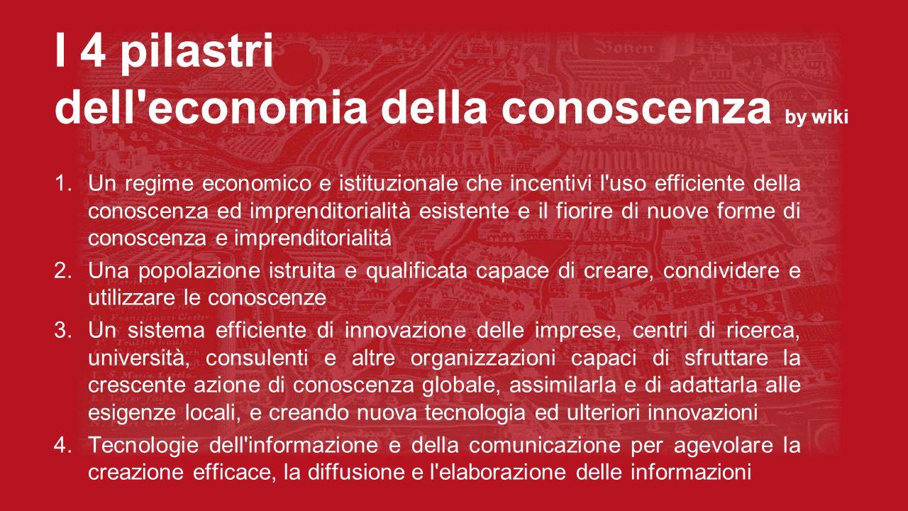 I 4 pilastri dell'economia della conoscenza by wiki 1.Un regime economico e istituzionale che incentivi l'uso efficiente della conoscenza ed imprendit