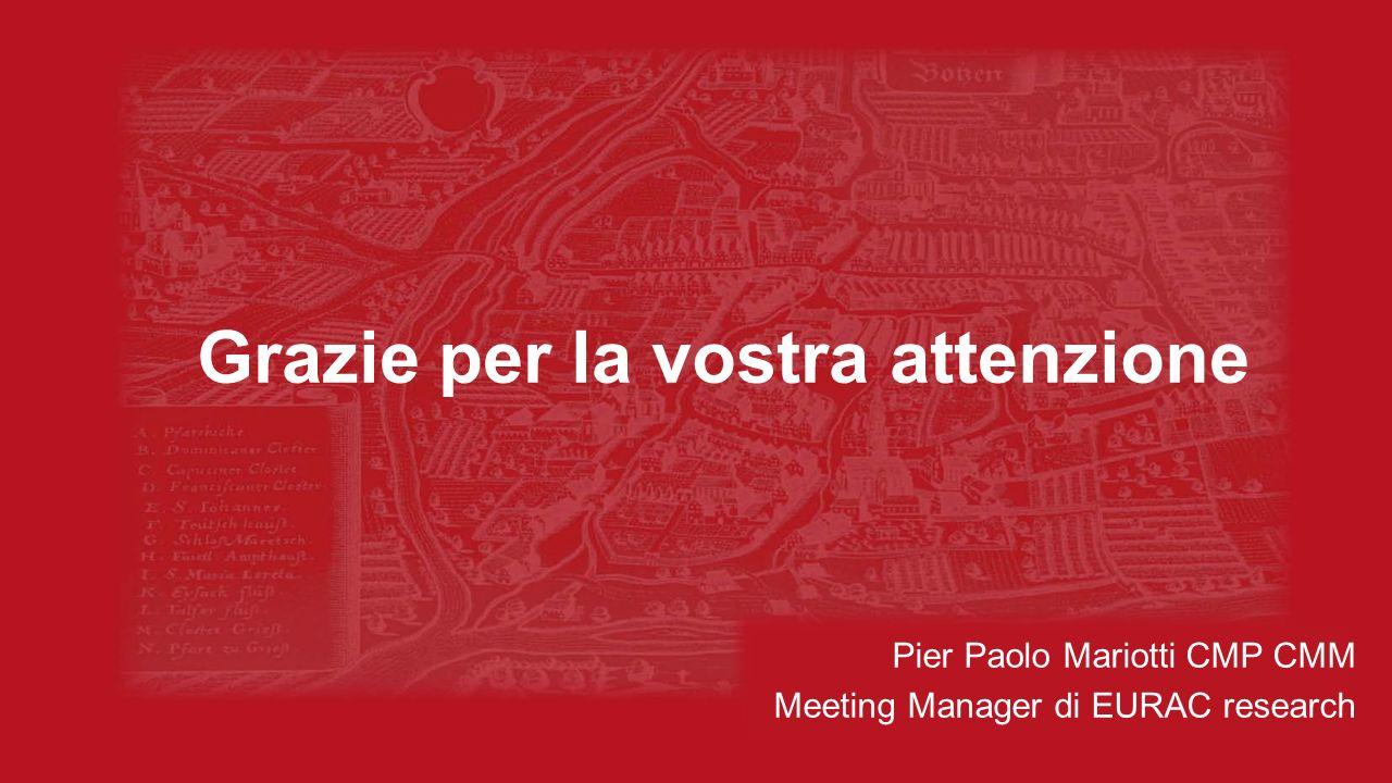 Grazie per la vostra attenzione Pier Paolo Mariotti CMP CMM Meeting Manager di EURAC research