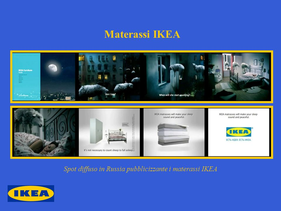 Materassi IKEA Spot diffuso in Russia pubblicizzante i materassi IKEA
