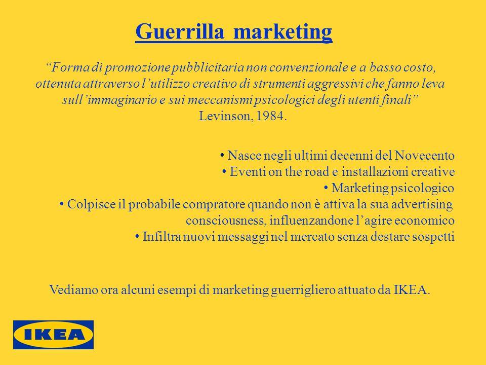 Guerrilla marketing Nasce negli ultimi decenni del Novecento Eventi on the road e installazioni creative Marketing psicologico Colpisce il probabile c